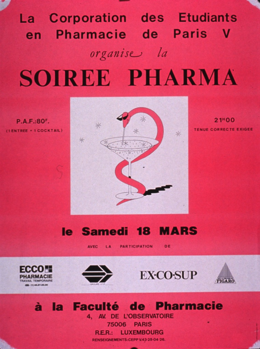 <p>Bright pink poster with black lettering announcing a party.  Publisher information at top of poster.  Title below publisher information.  Visual image is an illustration of a martini glass with a snake coiled around the stem and sipping from the glass with a straw.  Note text announces date and location.  Sponsor information presented amid the note text.</p>