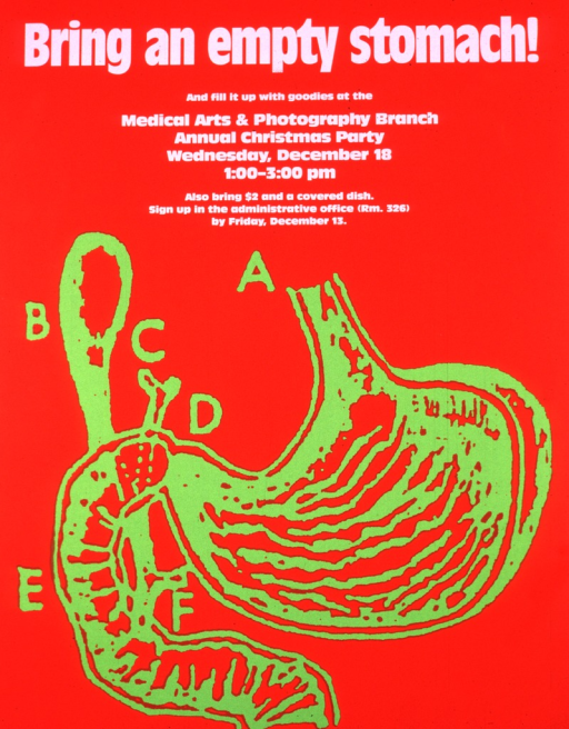 <p>Red poster with a drawing of the stomach in fluorescent green.</p>