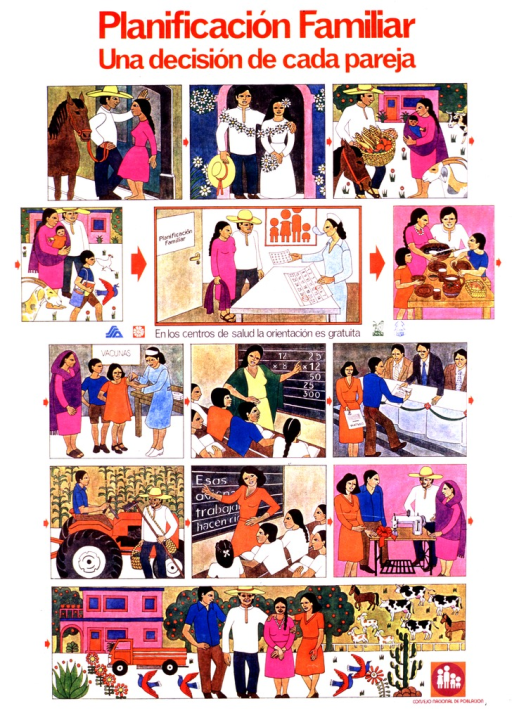 <p>Multcolored poster with red and black lettering. A series of 13 illustrations depicts couples, families, and children in everyday life situations. The last illustration covers the bottom of the poster and shows a family with a house behind them on the left and animals behind them on the right. A picture caption with four logos is midway down the poster, an additional logo is at the bottom on the right.</p>