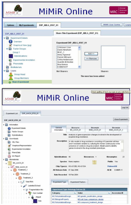 Screen shots of MiMiR Online. a: Screen shot of MiMiR Online showing the data sharing functionality. b: Screen shot of MiMiR Online showing the left hand tree view icons for navigation and the right hand panel showing the Experiment Details of a public experiment in MiMiR. Several experiments can be opened simultaneously and users can toggle between them using the top panel of tabs. Information including the study description, number of biosources (organisms), biosamples and hybridisations performed, chip type(s) used, private/public status, ArrayExpress accession number and date of public release (if relevant), as well as the active PubMed link if the experiment has been published, can be accessed. MGED Ontology terms are used systematically e.g. Category MO:PerturbationalDesign, Value MO:compound_treatment_design) and experimental factors (e.g. Category MO:compound, Value H2O2_-0.04). The tree view also gives access to information on the Biomaterials i.e. Biosources (whole organisms), Biosamples (material derived from the biosources) and the consecutive treatment steps generating the labelled extract to be hybridised on arrays. Different icons are used in the tree to visually facilitate navigation between the different procedure stages.