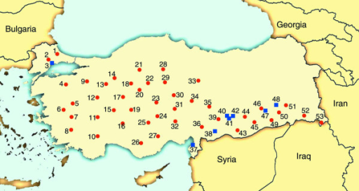 Location of collection sites in Turkey. Numbers correspond to the location numbers listed in additional file 3. Collections made by HB are designated by red dots and collections made by MT are designated by blue squares.