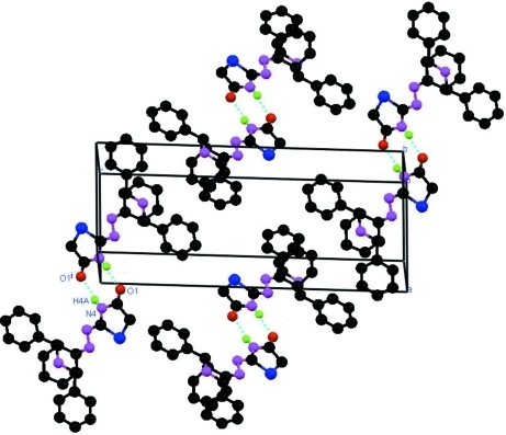 Packing of molecules in the unit cell. Hydrogen bonds are shown by dotted lines.