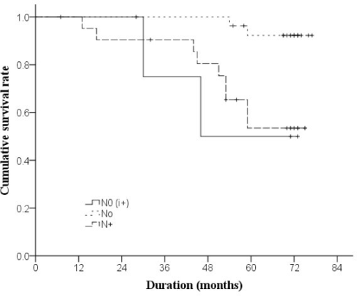 Kaplan-Meier curves of overall survival in 54 patients (n=3 in group N0(i+),n=28 in group N0, Nand n=22 in group N+). Breslow estimation method was used to test differences in survival among groups.