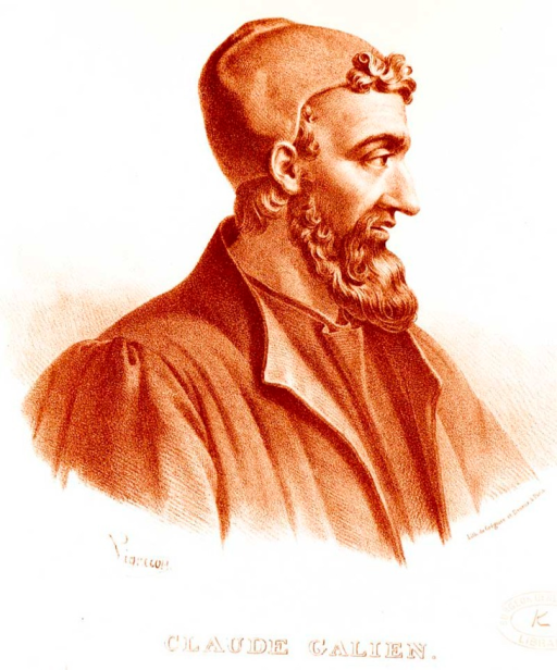 Galen of Pergamon (Claudius Galenus, or in French, Claude Galien), the most famous medical researcher of classical antiquity. Lithograph by Pierre Roche Vigneron. (Paris: Lithograph by Gregoire et Deneux, ca. 1865). Reproduced from http://en.wikipedia.org/wiki/File:Galen_detail.jpg.