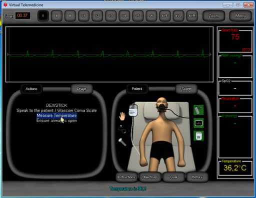 Screenshot of the Virtual Emergency TeleMedicine game that shows the interface with the virtual patient.