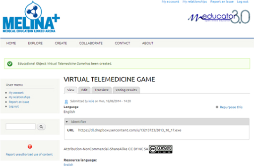 Interface of Melina+ (Medical Education Linked Arena), showing the Virtual Emergency TeleMedicine Game educational resource and metadata.