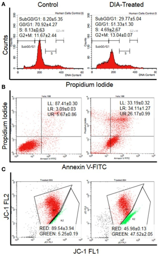 Flow cytometry analysis of (A) Cell cycle analysis by staining the DNA using propidium iodide, (B) Annexin V analysis for the detection of externalization of phosphatidylserine (LL, viable; LR, Early apoptosis; UR, Late apoptosis), and (C) JC-1 analysis for the detecting the change of mitochondrial membrane potential in HeLa cells (Red: Aggregates; Green: Monomers) after 48 h of treatment with 15 μg/mL of DIA.