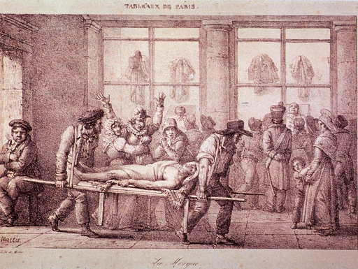 <p>Two men enter a building carrying a body on a stretcher; an hysterical woman is restrained; in the background, many people have gathered to view/identify(?) bodies.</p>