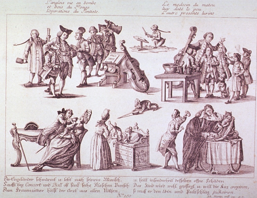 <p>Five vignettes showing various medical scenes, including infant care, veterinary medicine, dentistry, and alcoholic consumption.</p>