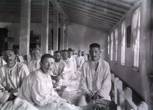 <p>Male patients in a ward at Military Hospital No. 15.</p>