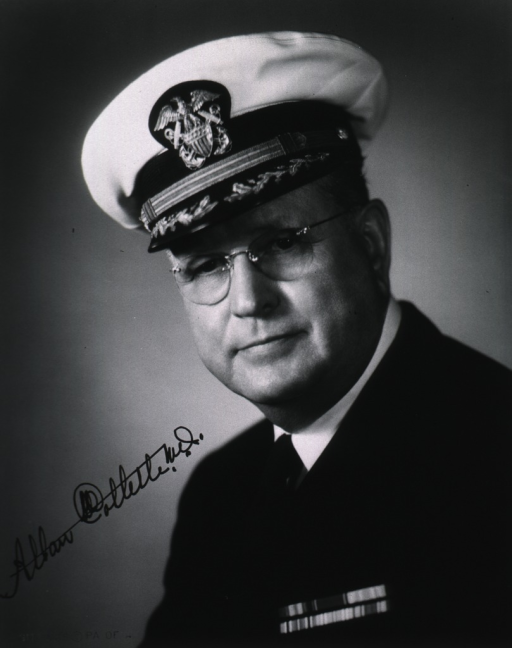 <p>Head and shoulders, full face, wearing naval uniform.</p>