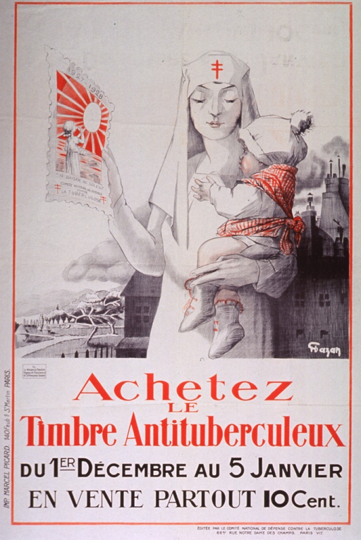 <p>Off-white poster with red and black lettering.  Visual image is an illustration of a nurse holding a baby in one arm and a large version of the antituberculosis stamp in the other hand.  The background contrasts a dark, industrial area with the sunny countryside.  The stamp features a young girl blowing a kiss toward the sun and bears the text &quot;le baiser au soleil.&quot;  The illustration bears an artist's signature, possibly Hazan or Chazan.  Title and note below illustration.  Publisher information at bottom of poster.</p>