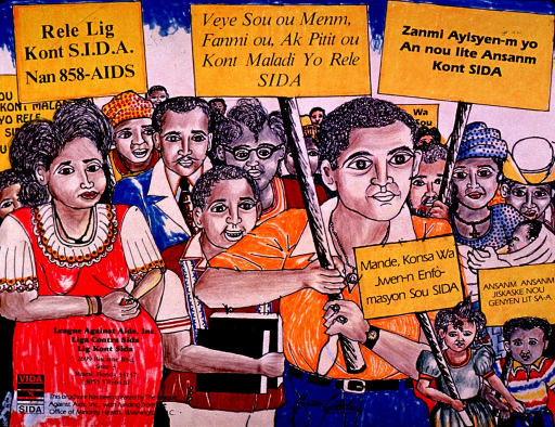 <p>Multicolor poster with black lettering.  Visual image is an illustration of a diverse group of people marching and carrying signs.  Title taken from sign in upper left corner.  Signs encourage fighting against AIDS and seeking information about the disease.  One sign appears to reference the Haitian community.  Publisher and sponsor information in lower left corner.</p>