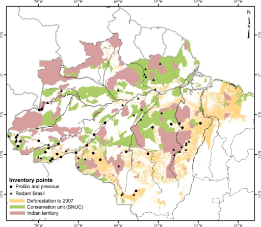 Distribution of Bactris gasipaes var. chichagui in Brazilian Amazonia, against a background of the Brazilian National System of Conservation Units (SNUC) and Indigenous Lands, as of 2008, with deforestation data from 2000–2007 (INPE-PRODES. Deforestation in Amazonia Legal. http://www.obt.inpe.br/prodes/).Only one third of the SNUC lands have personnel and infrastructure, and none have sufficient personnel to guarantee against invasions.