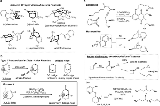 The challenge of bridged-ring synthesisa, Selected alkaloid natural products with bridged-ring substructures. b, Comparison of the type II IMDA reaction - which is synthetically limited by the incipient strain in an unsaturated bridgehead carbon - and the approach described in this work. c, Previous work on metal-catalysed C−C activation of cyclobutanones towards coupling and potential challenges due to the decarbonylation of the ketones.