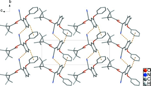 Crystal packing of the title compound with C—H···N hydrogen bonds and weak intermolecular C—H···π interactions are shown as dashed lines. H atoms bonded to C atoms have been omitted for clarity, except H atoms of interactions.