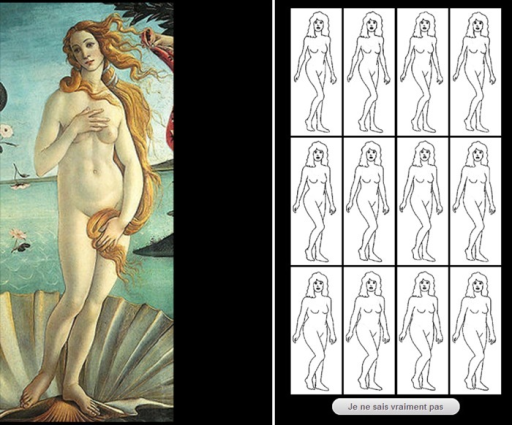 A typical screen shot during the evaluation of the women's silhouettes in the artworks by the participants in Study 1.An online test was developed to randomly present artworks to raters. On the right part of the screen, 12 drawn figures of women were displayed, representing 3 different weight categories and 4 WHRs within each weight category (from Singh [21]). For each artwork, the rater had to click on the figure that most closely resembled the woman depicted on the artwork according to the rater. A given rater had 17 distinct artworks to assess. Three artworks, which were randomly chosen among those previously observed, were presented again at the end to estimate judgment reliability.
