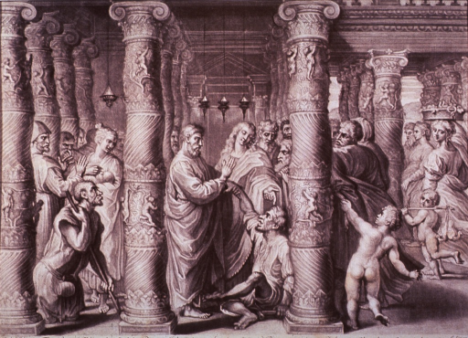 <p>In a temple scene, Saints Peter and John cure a lame begger as several people look on, including another handicapped man leaning on a staff.</p>