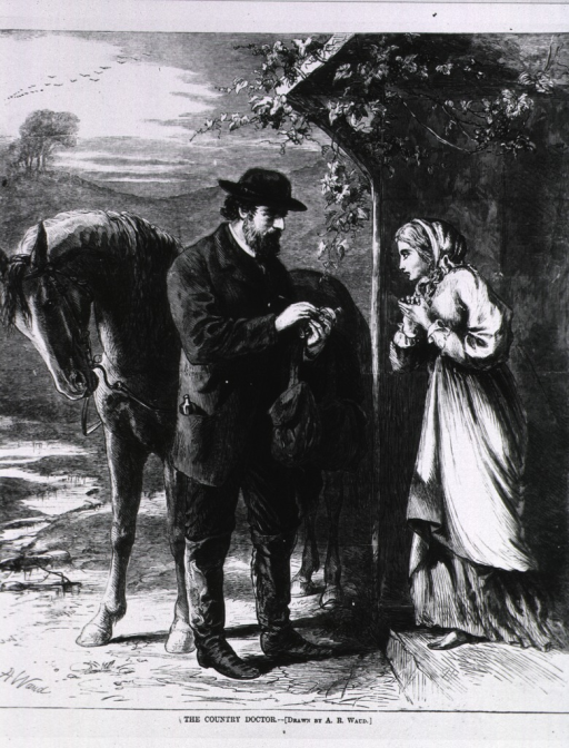 <p>The country doctor.  A woman stands at the door of a rural home, receiving a bottle from the doctor.</p>