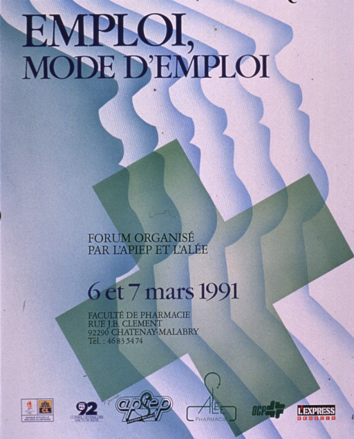 <p>Predominantly blue and green poster with black and blue lettering announcing an event held Mar. 1991.  Title at top of poster.  Visual image is a green cross superimposed on a design suggestive of the silhouettes of several faces.  Publisher, dates, location, and sponsor information in lower portion of poster.</p>