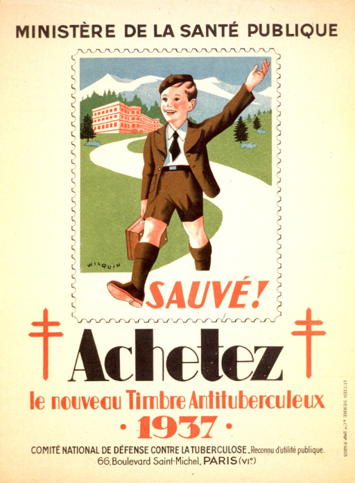 <p>Drawing of a young boy wearing jacket with a shirt and tie, matching shorts, knee socks, and shoes. He is walking down a winding path with a lunchbox or bookbag in his hand. The double red cross, Cross of Lorraine, appears on either side of the word &quot;achetez&quot;.</p>