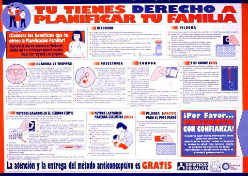 <p>Poster has white background with blue and orange lettering, divided into nine sections with each covering a different type of contraception. Each section has an illustration of the contraceptive method and several lines of explanation. In the upper left-hand corner and the lower right-hand corner, there are text boxes referring to family planning and pregnancy. At the bottom is further text along with three logos. A family is depicted in a circular illustration in the very top left-hand corner.</p>