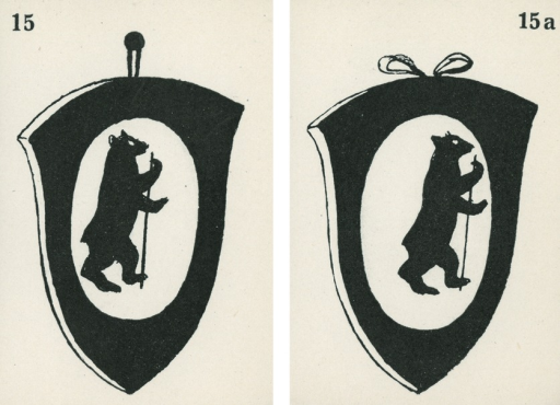 <p>A pair of strabismus diagnostic and exercise cards in black and white.  The card to the left, 15, has the image of a shield hanging from a nail with the picture of a bear on it; the card to the right,15a, has the image of a shield tied with a ribbon on top, with the picture of a bear on it.  Stereoskopische Bilder fur schielende Kinder.</p>