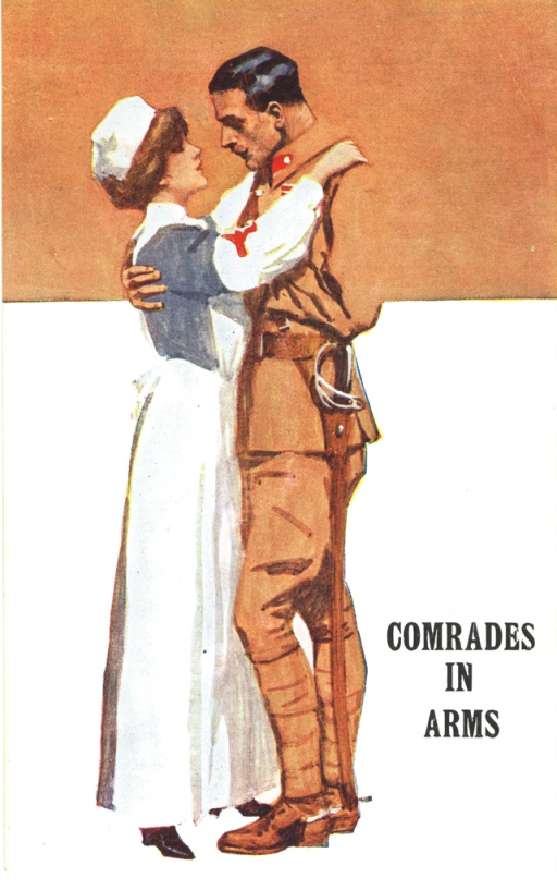<p>Postcard featuring a color illustration of a nurse in a Red Cross uniform and a soldier. The nurse has her arms on the soldier's shoulders and his arm is around her back.</p>