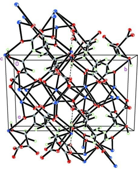 A view of the packing along the a axis. Dashed lines indicate hydrogen bonds.