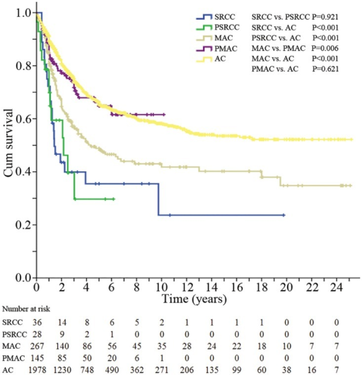 The overall survival of patients in the five groups.SRCC, signet-ring cell carcinoma; PSRCC, partial signet-ring cell carcinoma; MAC, mucinous adenocarcinoma; PMAC, partial mucinous adenocarcinoma; AC, classic adenocarcinoma.