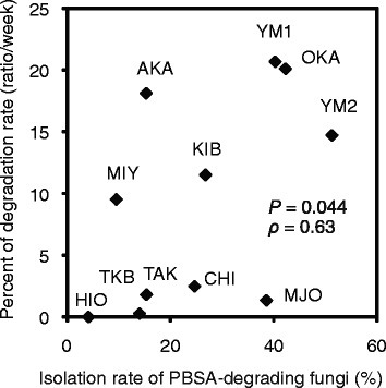 The isolation rate of the PBSA-degrading fungi and the degradation rate of the PBSA film. The scatter diagram shows the correlation between the isolation rate of the PBSA-degrading fungi and the degradation rate of the PBSA film in different soils. P represents the significance, and ρ represents Spearman's correlation coefficient. Degradation rate (%) is the average degradation during the first 3 weeks (ratio/week).
