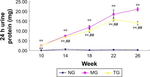Effects of berberine on albuminuria in diabetic nephropathy model KKAy mice.Notes: Data are presented as the mean ± standard deviation. **P<0.01 compared with the NG and ##P<0.01.Abbreviations: MG, model group; NG, normal control group; TG, treatment group.