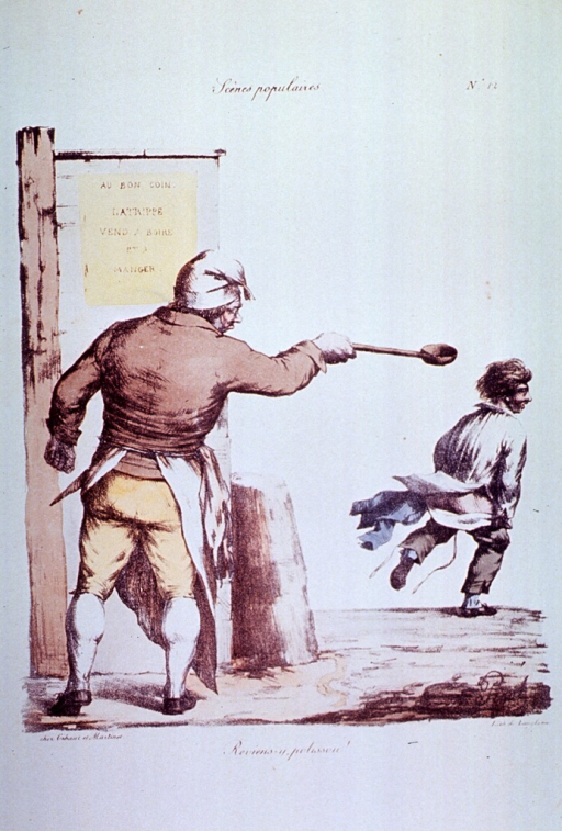 <p>Caricature:  Outside an eating and drinking establishment; a young man is pulling up his pants while running away from another man (the cook or proprietor?) who is holding a ladle.</p>