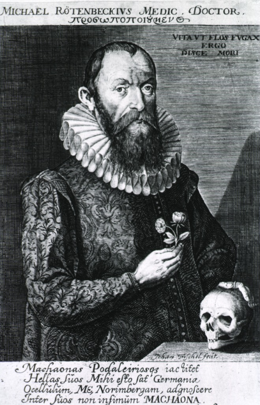 <p>Standing figure, hand on skull; other holding flowers, right pose.</p>