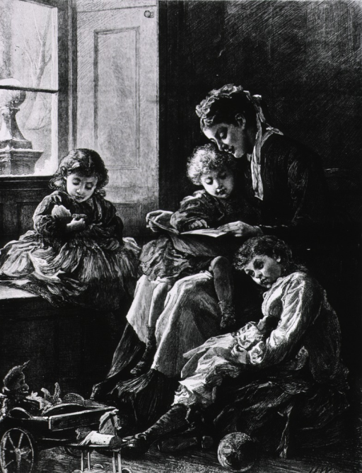 <p>The convalescent - a sketch at a children's hospital.  Interior scene, nurse reading to sick child, with two others nearby.</p>