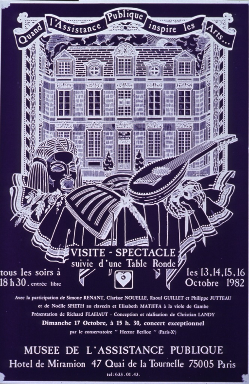 <p>Purple poster with white lettering announcing concerts, followed by a round table, Oct. 1982.  Also lists times, dates, performers, location, and phone number.  Title at top of poster in banner-like arrangement.  Dominant visual image on poster is a line drawing of the Museum.  In the foreground of the image are items associated with the arts, a mask, a lute, a notebook and quill pen.</p>