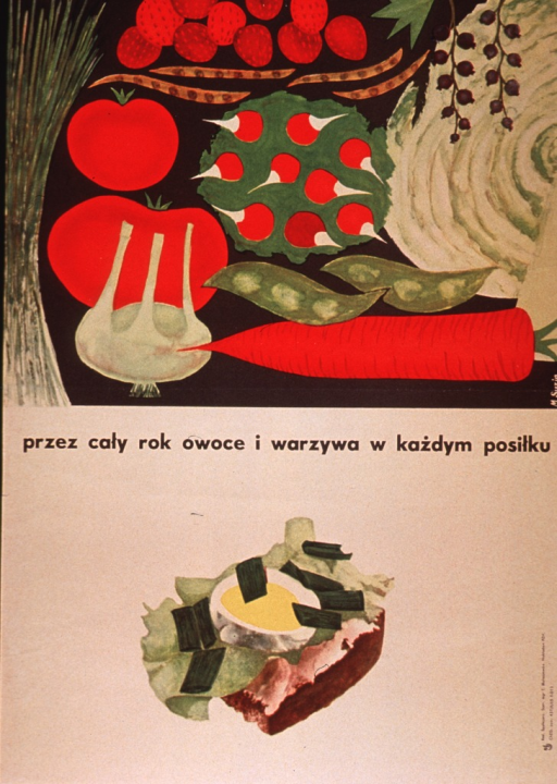 <p>Tan or discolored white poster with black lettering.  Visual image at top of poster is an illustration of several fruits and vegetables, including strawberries, beans, tomatoes, radishes, peas, a carrot, and a cabbage.  Title below illustration deals with having fruits and vegetables all through the year.  Additional illustration of an egg with lettuce, spring onions, and bread below title.  Publisher information on right side of poster.</p>