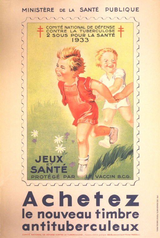 <p>The picture is a stamp, showing two young children and the arm of a third as they hold hands to run across the grass.  The top of the stamp says &quot;Comite national de defense contre la tuberculose, 2 sous pour la sante, 1933&quot;, with the double red cross, Cross of Lorraine, on either side. The bottom of the stamp says &quot;Jeux et sante protege par le vaccin B.C.G.&quot;  At the top of the poster it says &quot;Ministere de la sante publique.&quot;</p>