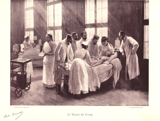 <p>A group of doctors and nurses surrounds the hospital bed of a partially-clad child who lies still as a doctor administers the vaccination into her abdomen.</p>