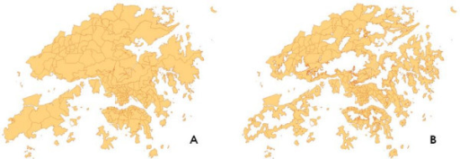 A map showing (A) Whole territory of Hong Kong; (B) Inhabitable areas after elimination of highland and water bodies indicated as hollow areas.