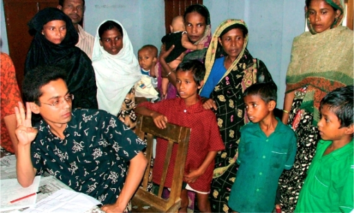 Finding blind children from the community. BANGLADESH
