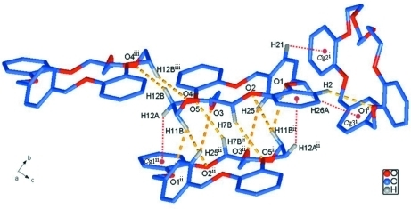 Intermolecular C—H···π (red dotted lines) and C—H···O (yellow dotted lines) interactions in the title compound. All H atoms except those related to intermolecular interactions have been omitted for clarity. Cg1, Cg2 and Cg3 denote the centroids of rings consisting of C1/C2/C3/C4/C5/C6, C13/C14/C15/C16/C17/C18 and C20/C21/C22/C23/C24/C25, respectively. [Symmetry codes: (i) x, -y + 1/2, z + 1/2; (ii) -x, -y, -z + 2; (iii) -x, -y, -z + 1]