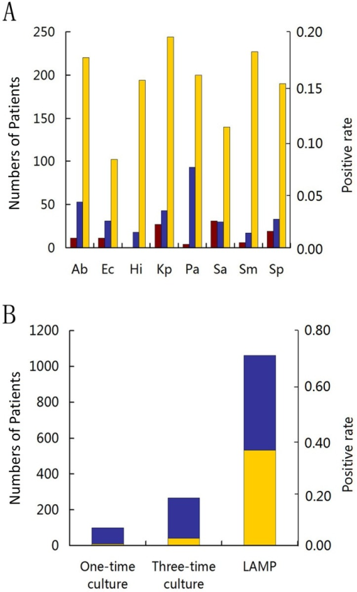 qLAMP and culture result from LRTI patients.(A) The positive rates (the right vertical axis) of one-time culture (brown bar), three-time culture (blue bar), and quantitative LAMP (yellow bar) for the eight species in the panel (from the left: Ab, A. baumannii; Ec, E. coli; Hi, H. influenzae; Kp, K. pneumoniae; Pa, P. aeruginosa; Sa, S. aureus; Sm, S. maltophilia; and Sp, S. pneumoniae) detected from the number of patients (the left vertical axis). (B) The number of patients (the left vertical axis) who were tested positive for at least one bacterium in one-time culture, three-time culture, and qLAMP. Each bar is the sum of patient with single (blue bar) and multiple (yellow bar) species detected.