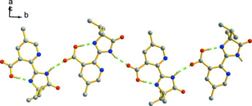 A partial packing view, showing the hydrogen-bonding chain structure along [010].