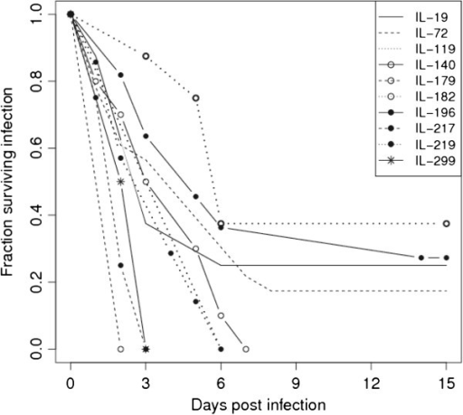 Survival curves of representative collaborative cross lines after intraperitoneal infection withKlebsiella pneumoniae.