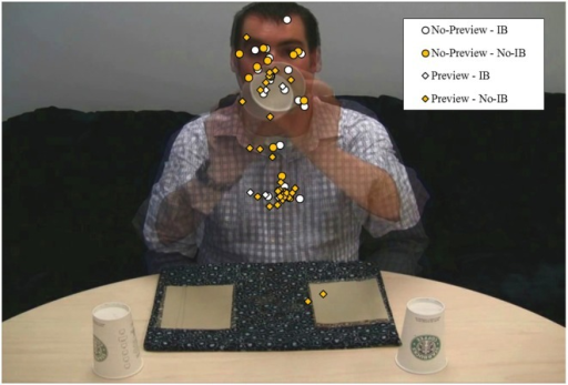 Fixation locations at midpoint of coin's movement on the experimental trial as a function of Preview and Inattentional Blindness. The overlay procedure used to create this graphic makes the coins invisible, as they were in subtly different positions at their temporal midpoint across the two experimental videos.