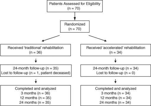 Patient randomization and assessment throughout the trial.