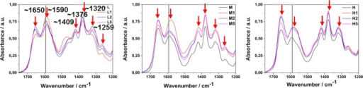 FTIR spectra of purechitosan films (L/M/H) and their nanocompositeswith increased gold NP content.