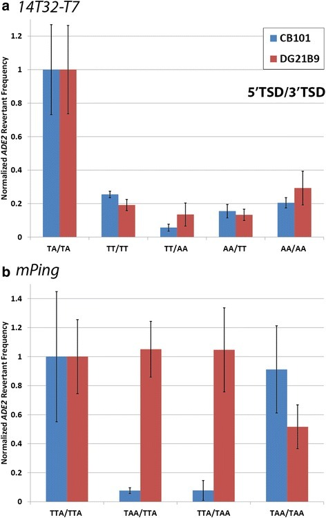 Transposition assays with non-matching TSDs. Normalized ADE2 revertant frequencies for 14T32-T7 (a) and mPing (b) elements with altered TSDs. Blue bars indicate the rate in CB101 (capable of both NHEJ and HR), while red bars indicate the rate in DG21B9 (only capable of HR). Values were normalized to the wild-type TSD (left column). Error bars indicate the standard error
