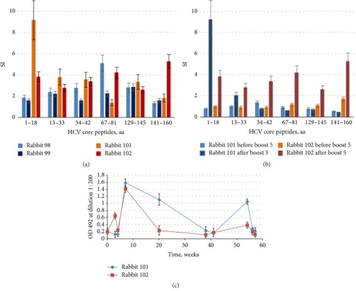 Anti-HCV core immune response induced by single and repeated immunizations with synthetic gene encoding core aa 1–152 (DNAcore152). Rabbits were regularly bled; PBMCs were isolated and subjected to stimulation with HCV core-derived peptides and recombinant HCV core aa 1–152. Stimulation indexes (SI) observed after double priming (week 4) (a); boosting of T-cell response in rabbits receiving multiple injections of DNAcore152 illustrated by stimulation indexes exhibited by PBMCs of rabbits 101 and 102 before and after boost 5 at weeks 54 and 56, respectively (b); dynamics of antibody response to HCV core aa 1–152 in rabbits receiving repeated injections of DNAcore152 (c). All antigen stimulation tests were performed in triplicate; SI values represent an average with standard deviation. Test results were discarded if radioactivity incorporation values demonstrated by mitogen PHA were below 1000 counts per minute and if stimulation indexes in response to PHA were below 2. HCV core-specific antibodies response represent an average optical density exhibited by sera of each of the rabbits collected at given time points in two ELISA runs with standard deviations. OD of sera of rabbits immunized with empty vector DNA collected at the same time points did not exceed the optical density of 0.3 (data not shown).